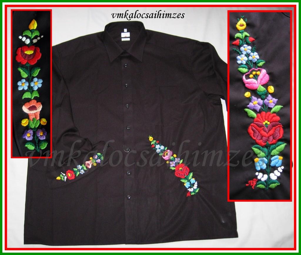 B.G.H. kalocsai fekete férfi ing