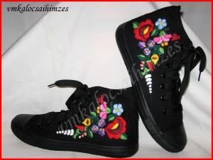 Erdős fekete kalocsai cipő