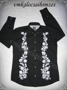 Fekete ing öreg kalocsai mintával