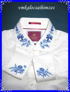 Sz. Johanna férfi ing kalocsai kék hímzéssel