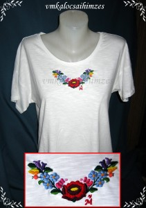 U.Krisztina kalocsai fehér póló