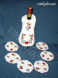 Kalocsai üvegkötény pohár alátétekkel