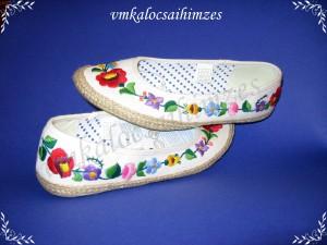 K. Viktória fehér kalocsai balerina cipő