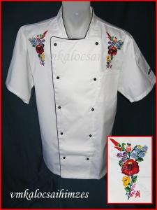 T.Zsanett szakácskabát kalocsai kézi hímzéssel