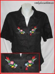 U.Krisztina kalocsai fekete lenvászon ing